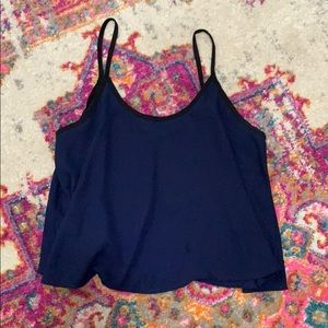 NORDSTROM navy and black lined tank